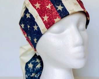 05da2f2f5ed Patriotic Striped Stars 4th of July Scrub Hat, PonyTail Scrub Cap for  Women, Surgical Caps, Scrub Hats, Red Ribbon