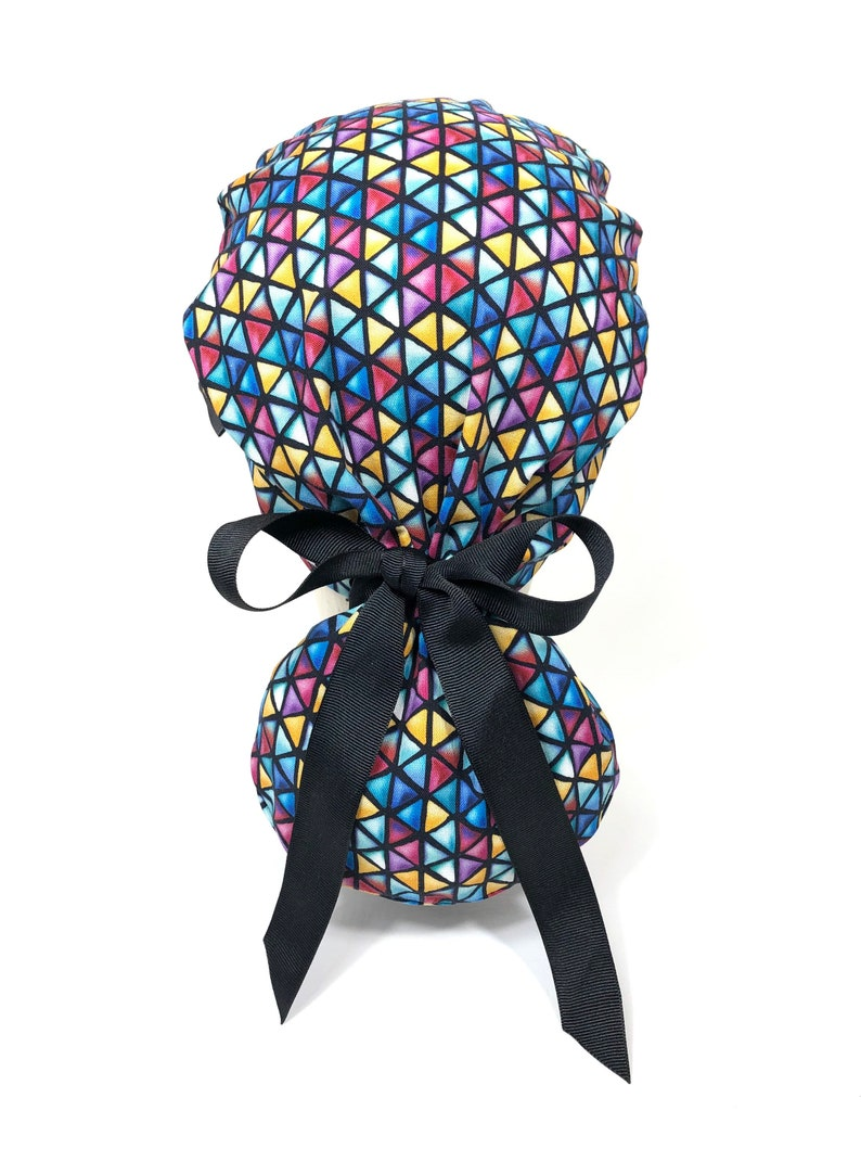 Multicolored Triangles on Black Scrub Hat Black Ribbon Surgical Hats Ponytail Scrub Cap for Women