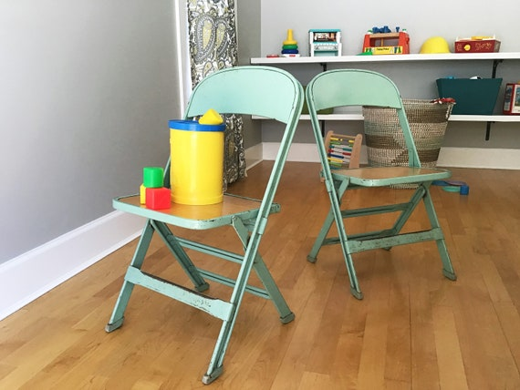 Remarkable Vintage Kids Metal Folding Chairs Seafoam Green Pair Caraccident5 Cool Chair Designs And Ideas Caraccident5Info