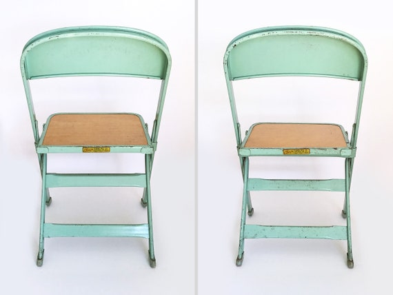 Superb Vintage Kids Metal Folding Chairs Seafoam Green Pair Caraccident5 Cool Chair Designs And Ideas Caraccident5Info