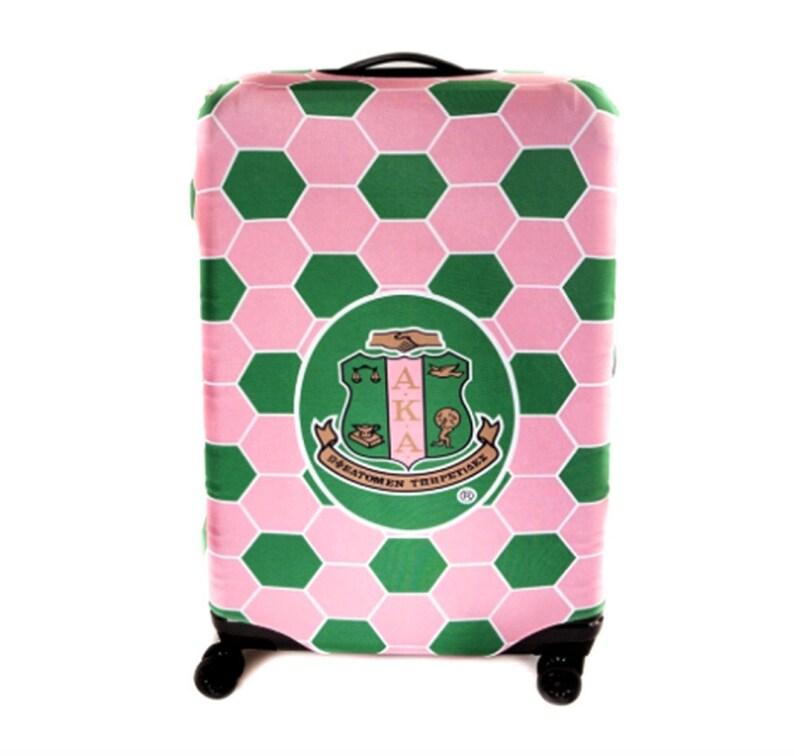 fb0ee2e750d2 AKA Sorority Logo Pink Green Large Luggage Cover