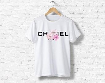 T-Shirt men women black or white Vintage Flower flower Liberty Gabrielle Coco Chanel inspired