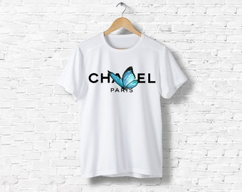 T-Shirt men women black or white Liberty Vintage Butterfly Butterfly Gabrielle Coco Chanel inspired