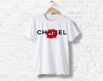 T-Shirt men women black or white Kiss lips kisses Gabrielle Coco Chanel inspired