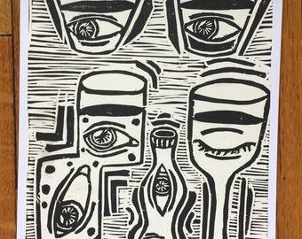 Eye-Cup Linocut Print