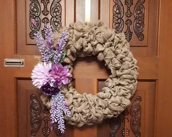 Burlap Floral Wreath- Purple blossom
