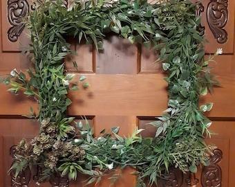 Garden succulent wreath