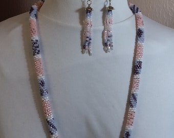 Crochet Necklace in Pinks and Purples
