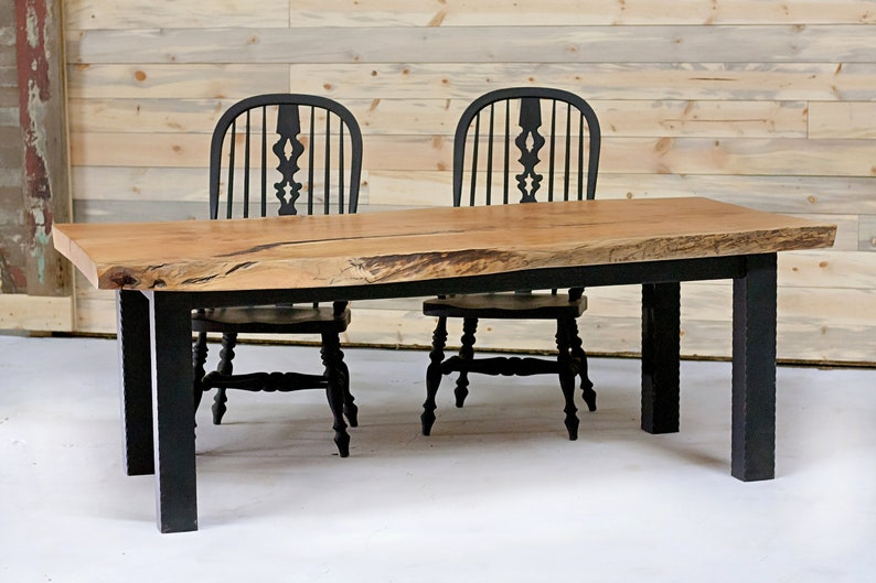 Terrific Reclaimed Wood Dining Table With Hammered Steel Frame Download Free Architecture Designs Scobabritishbridgeorg