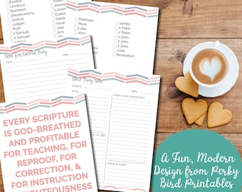 bible study printables set with cute pink grey chevron pattern instant download