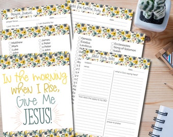 Bible Study & Prayer Journal Printable Set With Pretty Floral Details - Cover: In The Morning, When I Rise, Give Me Jesus (INSTANT DOWNLOAD)