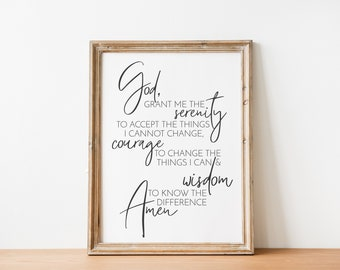 Serenity Prayer - Simple Recovery Prayer - Slogan Quote Wall Art Printable (INSTANT DOWNLOAD)