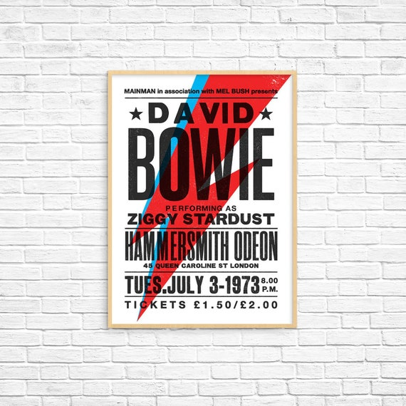 A3 SIZE BUY 2 GET ANY 2 FREE DAVID BOWIE ZIGGY STARDUST POSTER PRINT A4