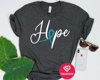 bd2414436b2 Ovarian Cancer Shirt, Ovarian Cancer Shirt, Cancer Survivor, Ovarian Cancer  Awareness Shirt, Teal Ribbon, Ovarian Cancer Survivor Gift
