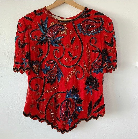 Red floral deep V vintage floral top
