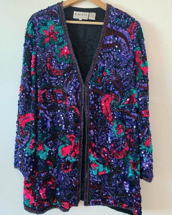 Amazing colorful sequin  long blazer