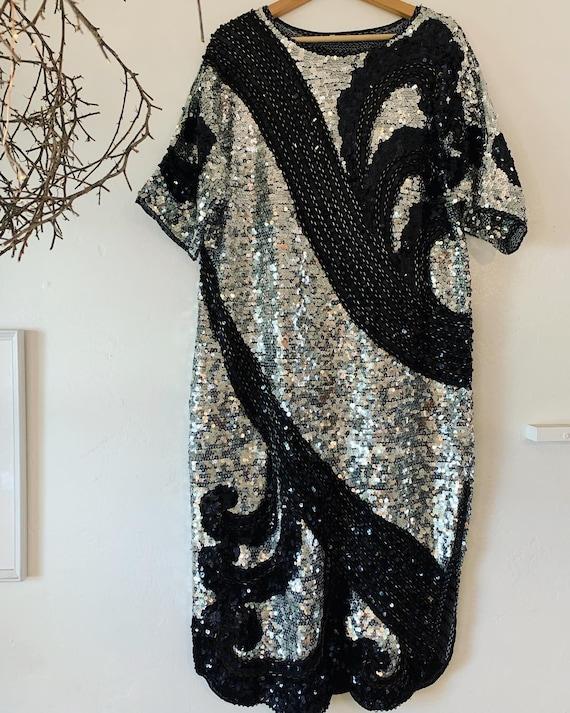 Metallic oversized sequin dress