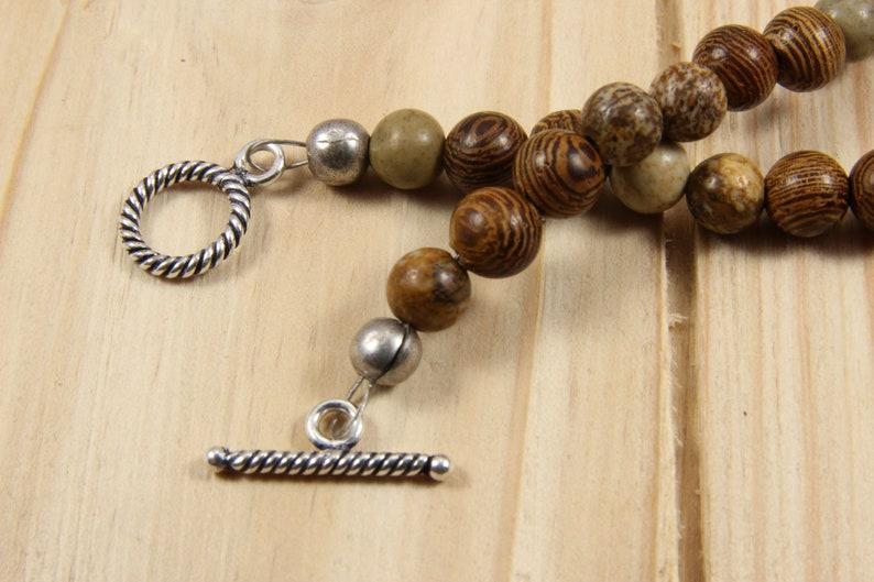 Beaded ankle charm bracelet for women-jasper gemstone handmade anklet-wood anklet-handmade jewelry