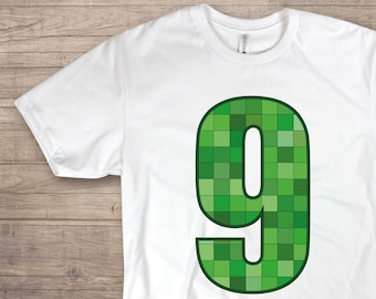 1c61e153 Print at home Mine craft numer 9 Iron On Transfer SVG DIY Mine craft t-shirt  Files for Cutting Machines svg pdf dxf png Video Game Birthday