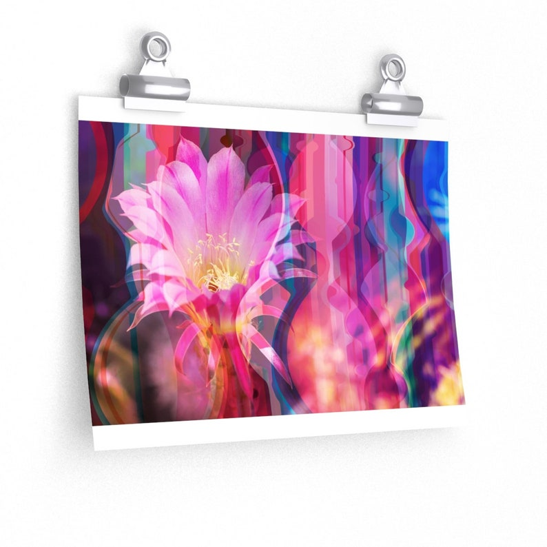 Cactus Pink Flower Matte Photo Print Valentines gift psychedelic artwork living room decor rainbow holiday gift pink floral wall art
