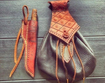Leather bush craft belt pouch