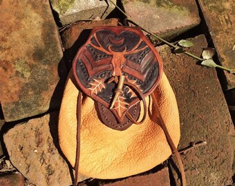 One of a kind leather bush craft belt pouch