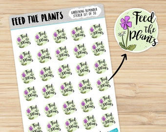Feed the plants cute fertilizer habit tracker stickers for your 2018 garden planner or calendar