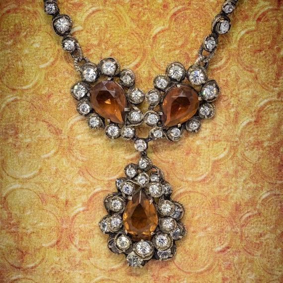 Antique Victorian Golden Paste Lavaliere Drop Neck