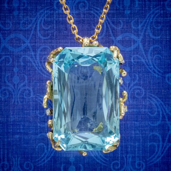 Vintage Aquamarine Diamond Pendant Necklace 18ct G