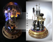 Steampunk lamp Benjamin. desk lamp steampunk style on a stand made of oak and glass dome