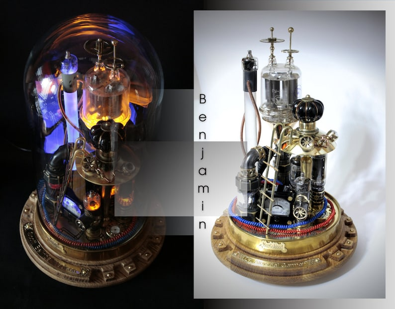 Steampunk lamp Benjamin. desk lamp steampunk style on a stand image 0