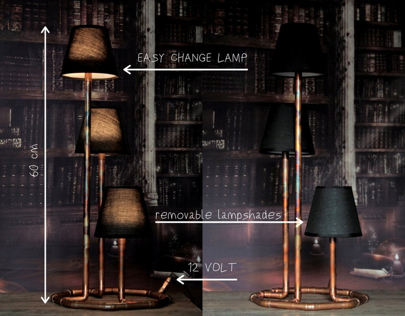 Copper pipe lamp Tribus/Industrial lamp/Pipe image 0