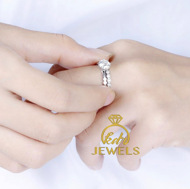 Forever One Moissanite Engagement Ring Set Octagonal Cut D-E-F with 0.26ct of Natural Diamond Matching Band 14K Solid Gold Wedding Ring Set