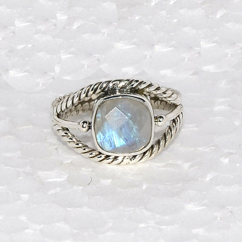 Oval Faceted Fire Rainbow Moonstone Gemstone 925 Sterling Silver Handmade Ring