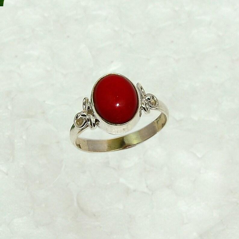 Echter 925 Silber  Damen RING mit Koralle rot