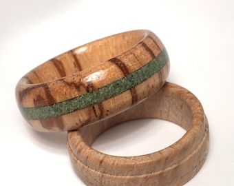 Ring made of Zebra wood and crushed Emerald inlay wood/ring / wood/unusual jewelry woodring/original/jewelry ring