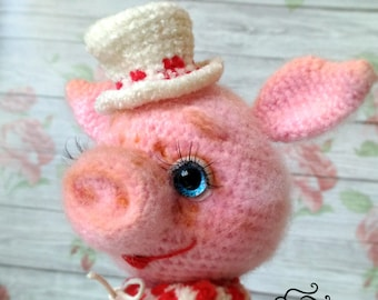Piggy crocheted, handmade toy, crochet pig, Interior piglet, piggies, toy swine, soft toy piggy, for you, for interior, for kids, for girls