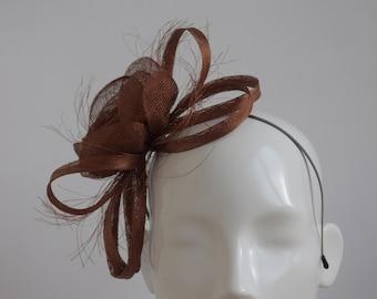 Rust Fascinator - Red Brown Wedding Headpiece- Copper Fascinator - Bronze  Fascinator - Russet Autumn Wedding Accessory- Dark Cinnamon HatHat 4325b61fde9