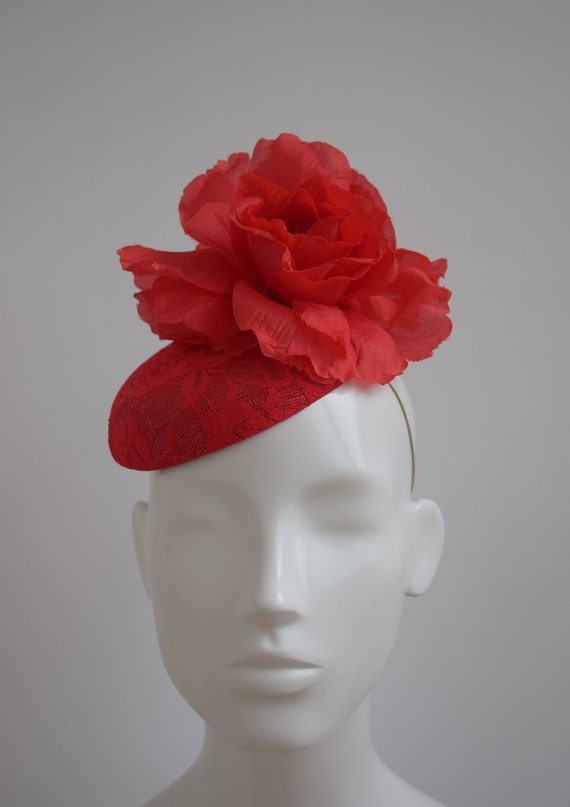 Red Fascinator Scarlet Red Head Accessory Bright Red  e8bc2348c18