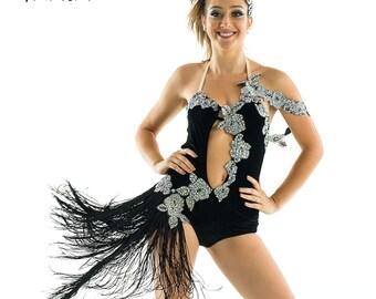 a89ef2a1bc5 Velvet-velvet dress, race, competition, dance, salsa, bachata, dance dress,  show. Dance dress, black velvet with rhinestones