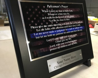 "Personalized ""Policeman's Prayer"" Memorial Keepsake Plaque, Limited Edition"