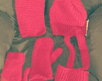 Hat, scarf, and mittens set with handbag