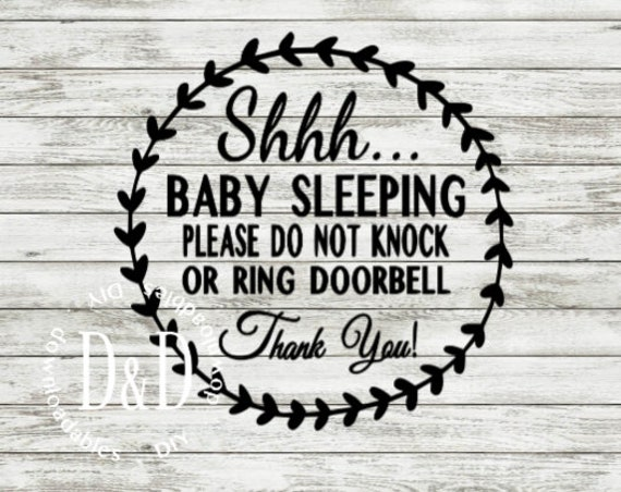 photograph relating to Printable Baby Sleeping Sign Front Door known as boy or girl sleeping, no soliciting doorway SVG reducing history, printable PDF for entrance doorway, industrial and particular person employ electronic obtain documents