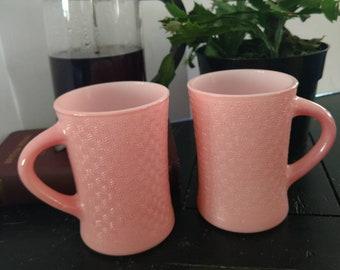 Vintage Glasbake 12 Oz. Coffee Mug Pink set of 2 Jeannette Glass Co