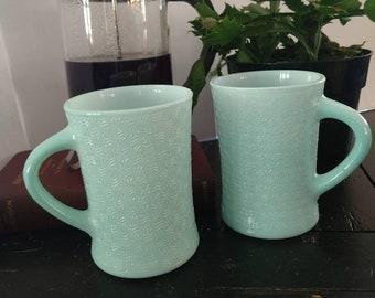 Vintage Glasbake 12oz. Coffee Mugs Lt. Blue set of 2 Jeannette Glass Co.