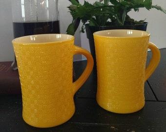 Vintage Glasbake 12oz. Coffee Mugs Mustard set of 2 Jeannette Glass Co