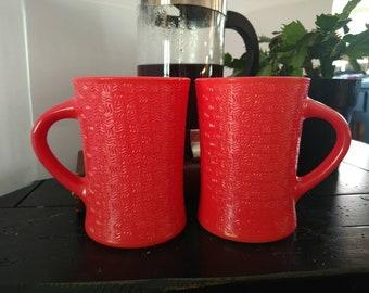 Vintage Glasbake 12 Oz. Coffee Mug Red set of 2 Jeannette Glass Co