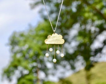 handmade brass cloud necklace with silver chain