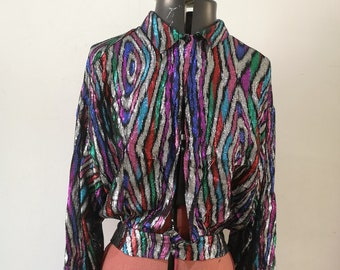 Glitter Poet Blouse Shiny Bohemian Blouse Disco Retro Blouse 70s Vintage Sparkle Dagger Collar Blouse