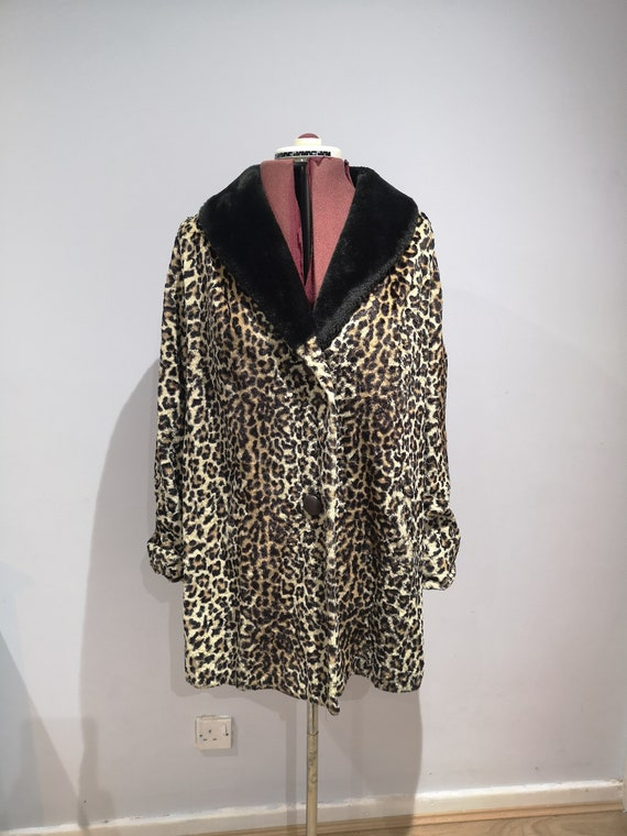 1960's leopard print coat, 60's faux fur coat, vin